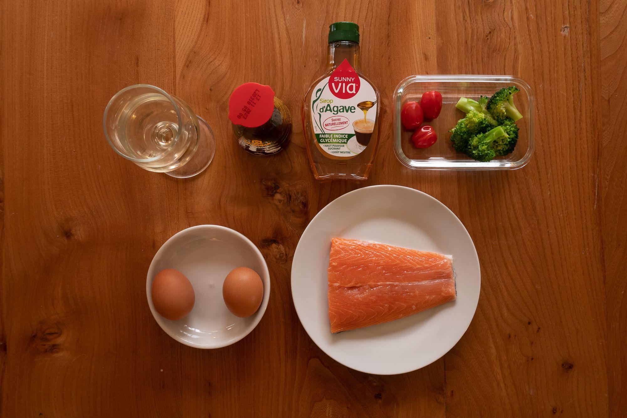 Today's salmon teriyaki and tamagoyaki bento ingredients