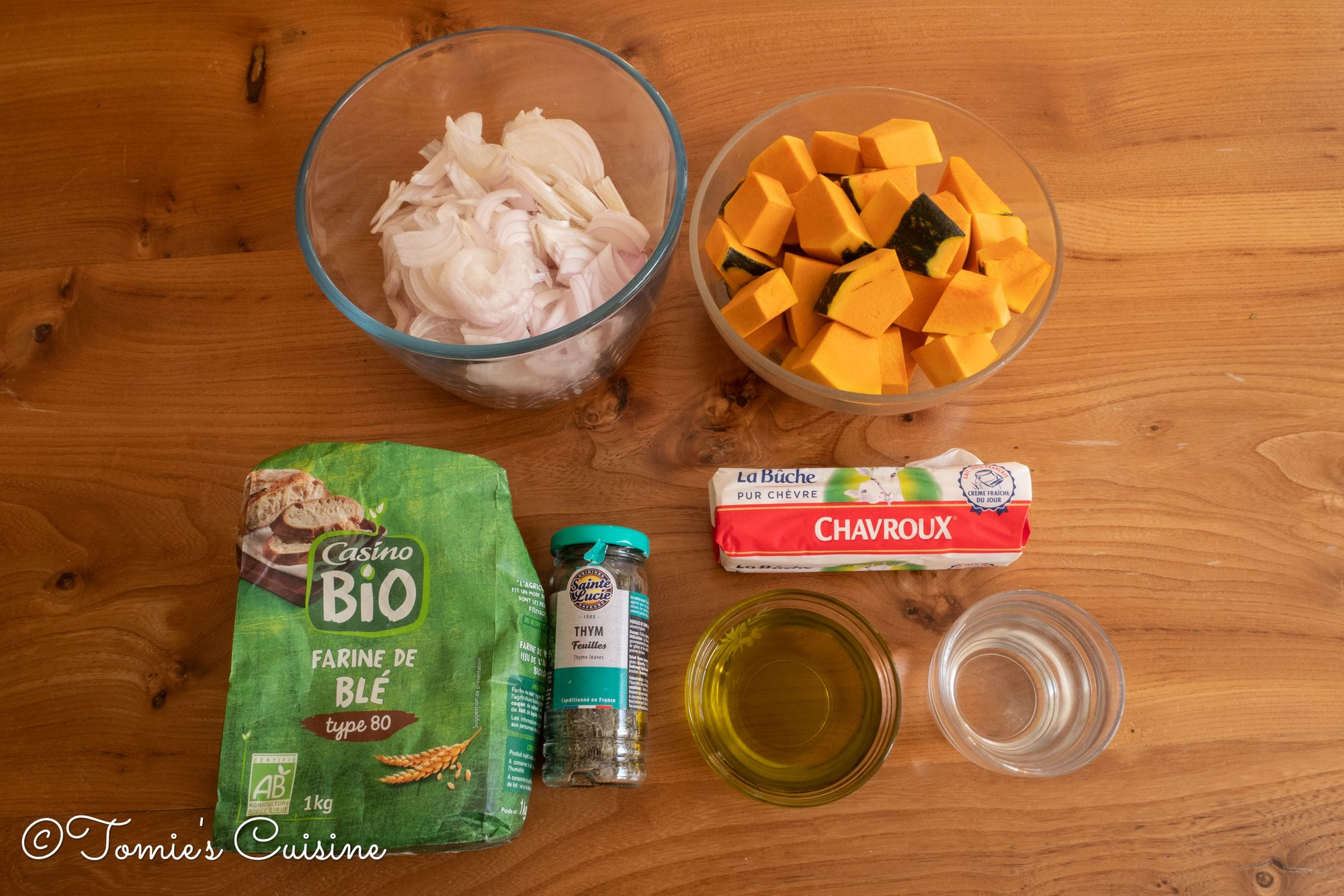 Our pumpkin tart ingredients