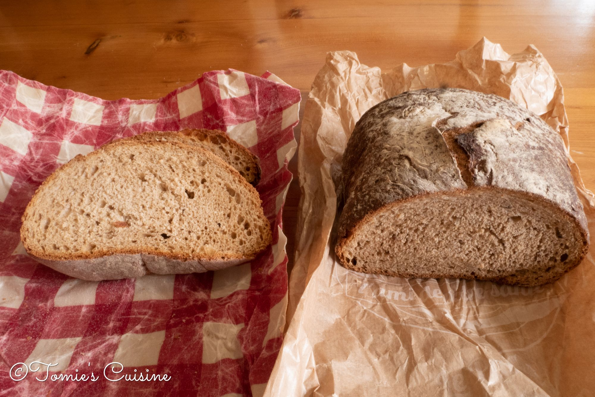 Two different but similar bread purchased on the same day