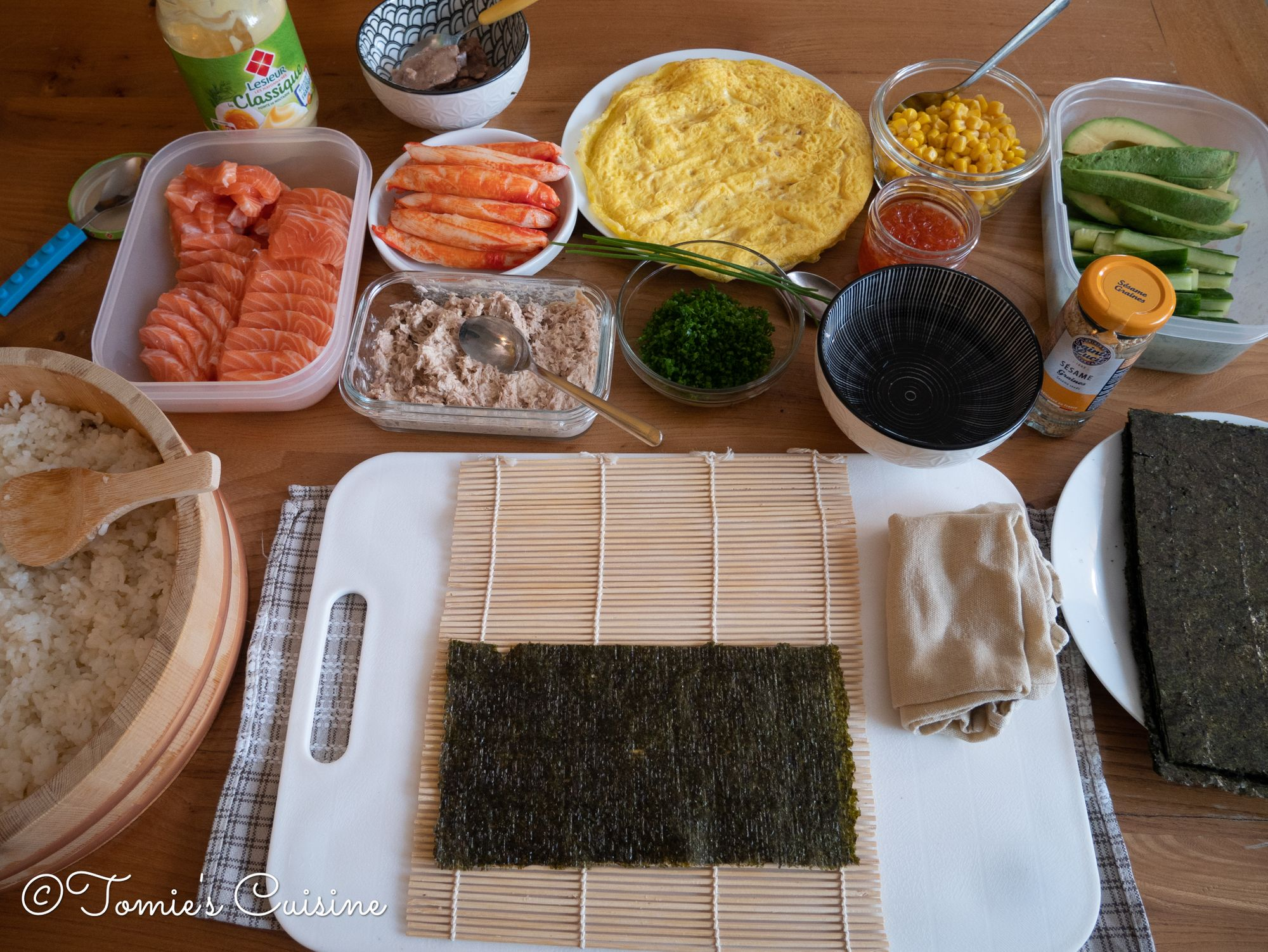 My set up to make sushi maki (roll) for today!