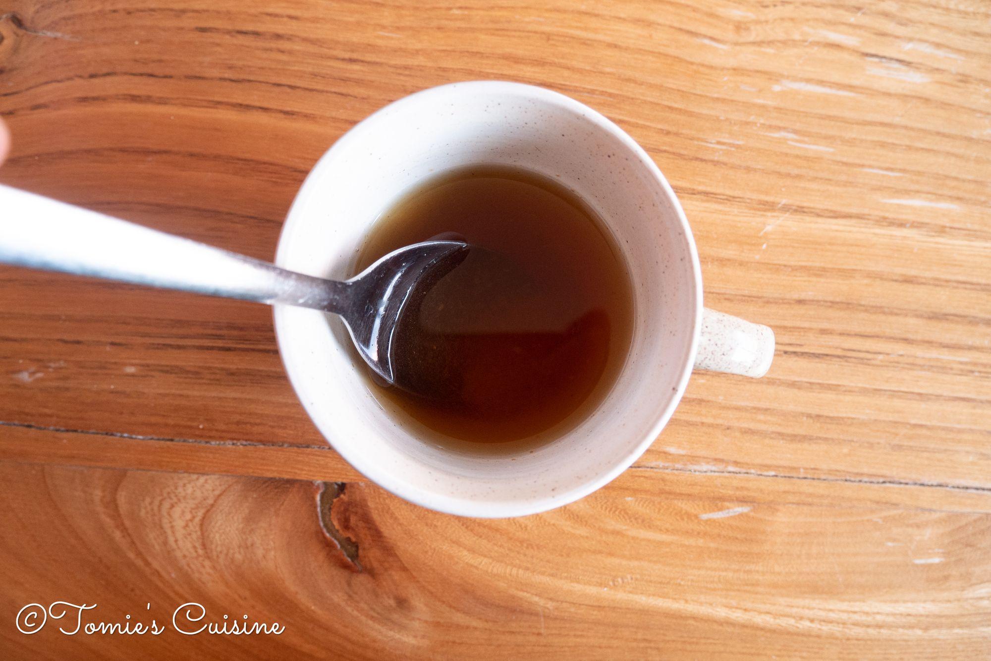 Sushi vinegar. I used brown sugar.